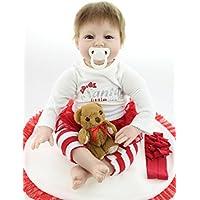値スポーツNPKDOLL LifelikeリアルなかわいいソフトSiliconeビニールRebornベビーガール人形Toy with Magneticダミーand Bear 22インチ( 55 cm )