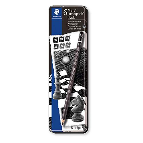 ステッドラー 鉛筆 ルモグラフ ブラック デッサン カーボン芯 4硬度 6本 100B G6