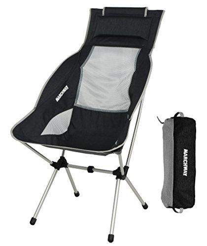 MARCHWAY アウトドアチェア キャンプ 椅子 ハイバック リクライニング 背もたれ ヘッドレスト付き 折りたたみ 軽量 コンパクト ポータブル アルミ合金製 ハイキング ツーリング ピクニック 耐荷重135kg (ブラック)