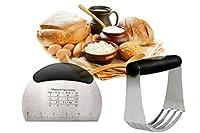 H & B LIFE Set of 2 Professional Dough Blender & Scraper ,Pastry Mixer & Cutter ,Non-Slip Comfortable Rubber Handle Dulex Stainless Steel,Black