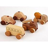 スプソリ 木のおもちゃ 木製ミニカー5個セット [働く車シリーズ] 救急車、パトカー、消防車、ミキサー車、バス