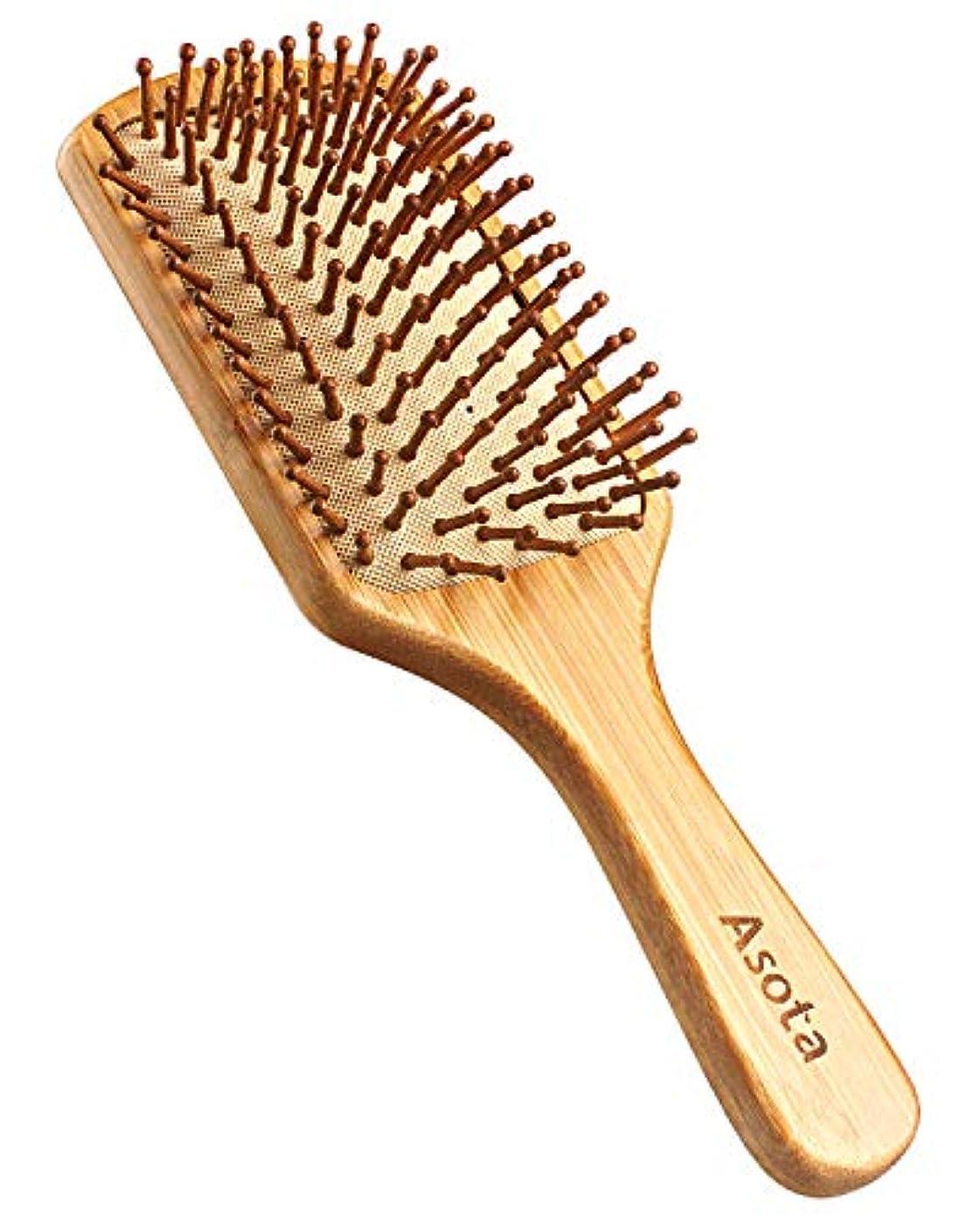 グリットレベル大きいAsota 高級木製櫛 ヘアブラシ ヘアコーム 静電気防止 頭皮マッサージ 天然 木の香り 美髪 (大)