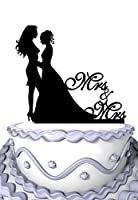 Meijiafei Lesbian Wedding Bride and Bride Silhouette with Script Mrs and Mrs Wedding Cake Topper [並行輸入品]