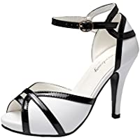 Getmorebeauty Womens Vintage High Heel Shoes White Black Peep Toes Buckle Dress Sandals