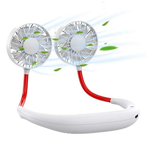 Hipoo 首掛け扇風機 両手開放 携帯扇風機 ポータブル扇風機 ハンズフリー 3段階風量 1800Mah usb充電
