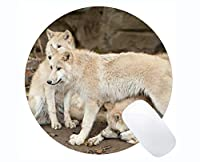 Yantengの賭博の円形のマウスパッドの習慣、動物のオオカミのファジィのゴム製大きい円形のマウスパッドのマット