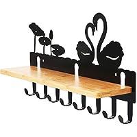 8つの炭素鋼のフックと木製棚付きの壁掛けコートラック、エントランスウェイ、リビングルーム、ベッドルーム用のモデリング装飾と服の帽子ホルダー/ハンガー (色 : Swan)
