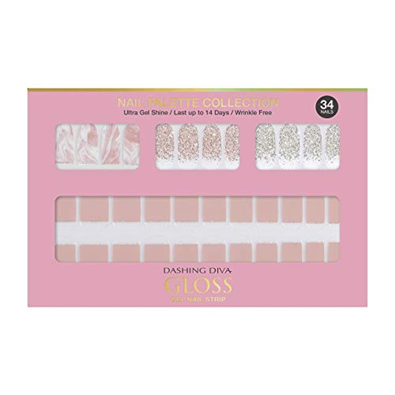 調和バックアップ蒸し器ダッシングディバ グロスジェル ネイルストリップ DASHING DIVA Gloss Gel Nail Strip DGNP03-DURY+ オリジナルジェル ネイルシール Rosy #03 Strawberry Latte