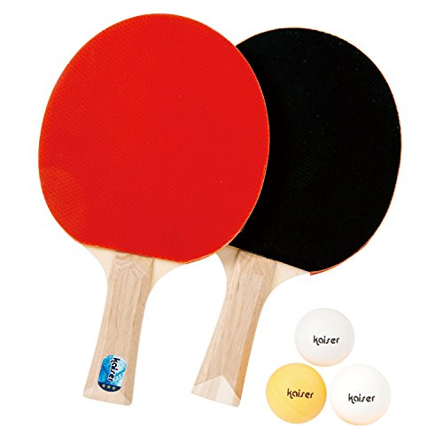 カイザー(kaiser) 卓球 ラケット セットD シェイクハンド KW-016 ボール付 ケース付 レジャー ファミリースポーツ