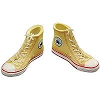 ノーブランド品 2足 1/6 ズック靴 フィギュア 人形用 スニーカー ギフト 全2色選べ - イエロー