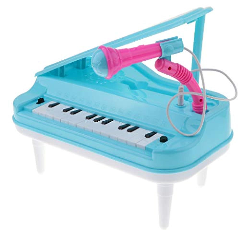 B Blesiya 23キー キーボード 電子キーボード マイク付き 楽器おもちゃ ピアノ玩具 2色選ぶ - ブルー