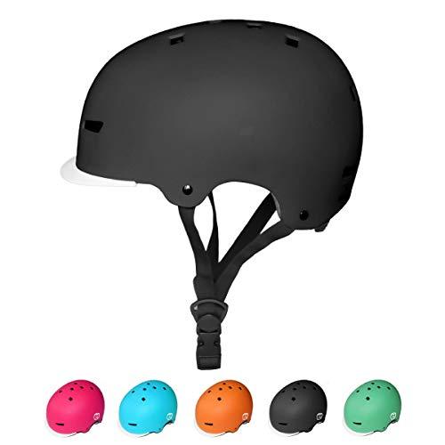 67i ヘルメット 子供用 スポーツヘルメット キッズ 幼児 つば付き スケートボード アイススケート サイクリング 通学 スキー バイク 自転車 ヘルメット 超軽量 サイズ調整可能 Sサイズ 48-54cm 保護用ヘルメット (S, ブラック)