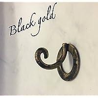 フック 鉄職人の手作り アイアン製フック ロートアイアン 1個 アンティーク調ブラックゴールド