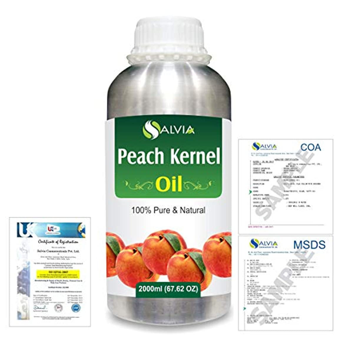 カメパイプ信頼性Peach Kernel (Prunus persica) Natural Pure Undiluted Uncut Carrier Oil 2000ml/67 fl.oz.