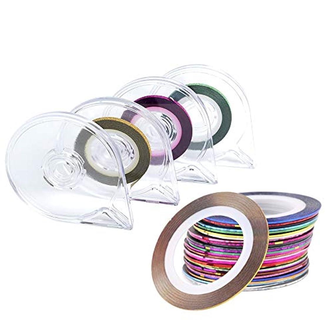 スティック下にゆでるラインテープネイルアート用 ラインテープ シート ジェルネイル用 マニキュア セット ジェルネイル アート用ラインテープ 専用ケース付き 30ピース /セット (Color : Mixed Colour)