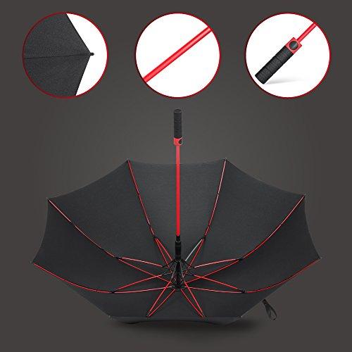PLEMO 長傘 大きな傘 新強化グラスファイバー傘骨 梅雨対策 自動開けステッキ傘 紳士傘 耐風傘 撥水加工 ブラック レッド 120センチ