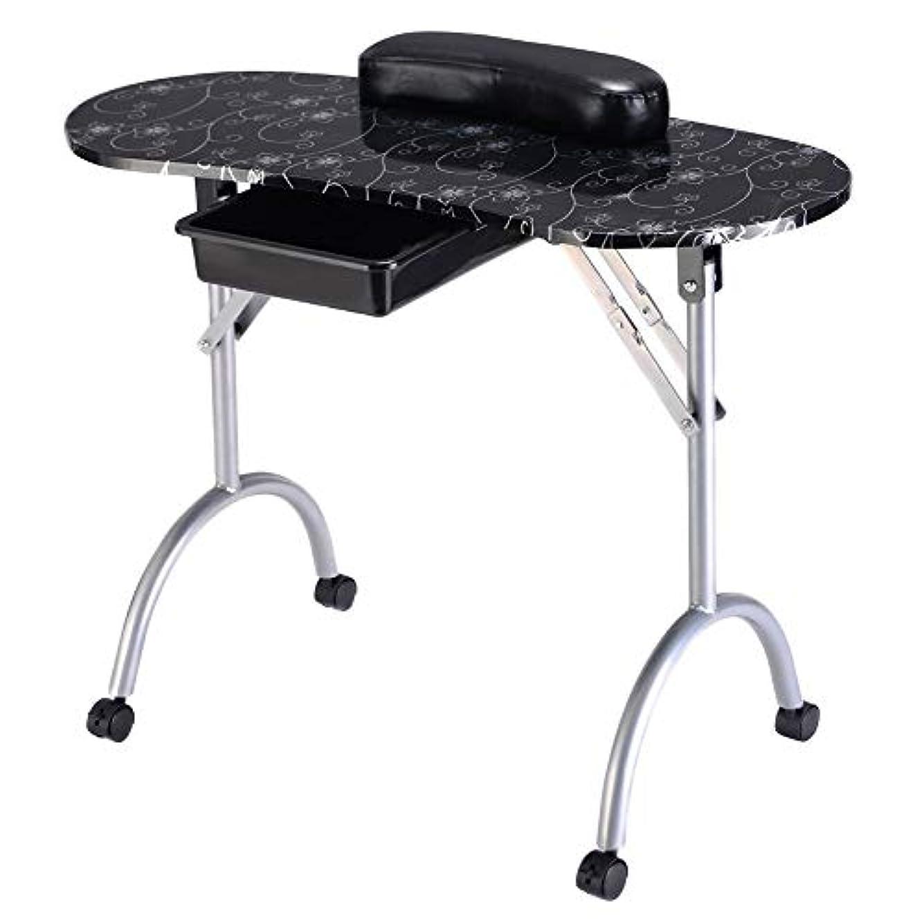 著名なファウルペルーポータブル折りたたみマニキュアテーブルネイルテクニシャンワークステーションアートデスク引き出し引き出し+キャリーバッグ+リストレスト白黒,blacksilver