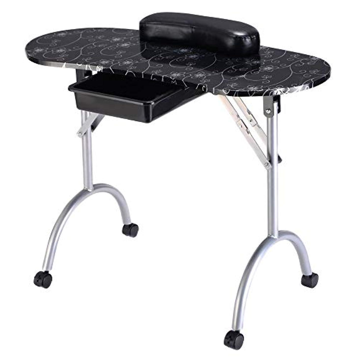 西部最悪ストライプポータブル折りたたみマニキュアテーブルネイルテクニシャンワークステーションアートデスク引き出し引き出し+キャリーバッグ+リストレスト白黒,blacksilver