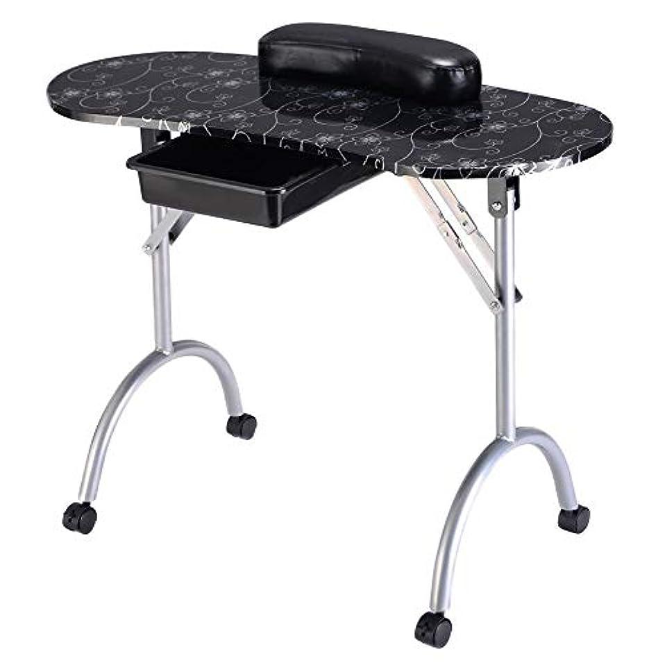 ポータブル折りたたみマニキュアテーブルネイルテクニシャンワークステーションアートデスク引き出し引き出し+キャリーバッグ+リストレスト白黒,blacksilver