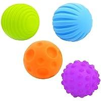 Dovewill 教育玩具  ソフトボール  4枚セット  赤ちゃん ベビー  手と目を訓練  プレゼント  ラバー製  カラフル