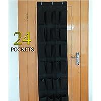 24ポケット-RYSをドアのハンギング靴オーガナイザー、ブラック ブラック B01NGTWMA4