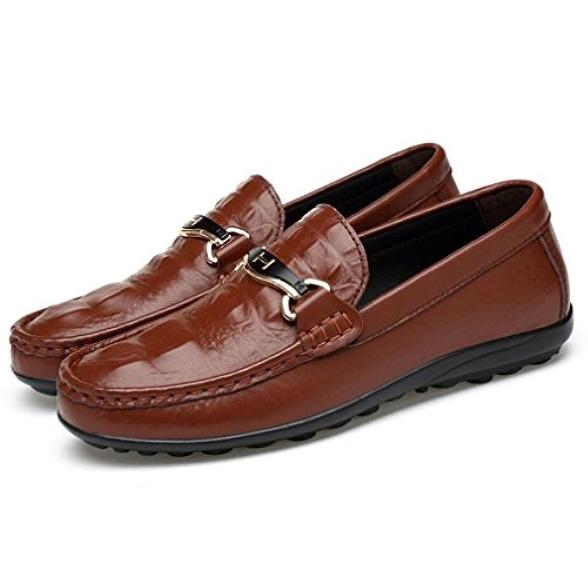 フレキシブル従来の共産主義者メンズスリップアドオンカジュアルレザーローファー靴軽い靴底ドライビングシューズビジネスワークパーティー & イブニング (YAN),B,38