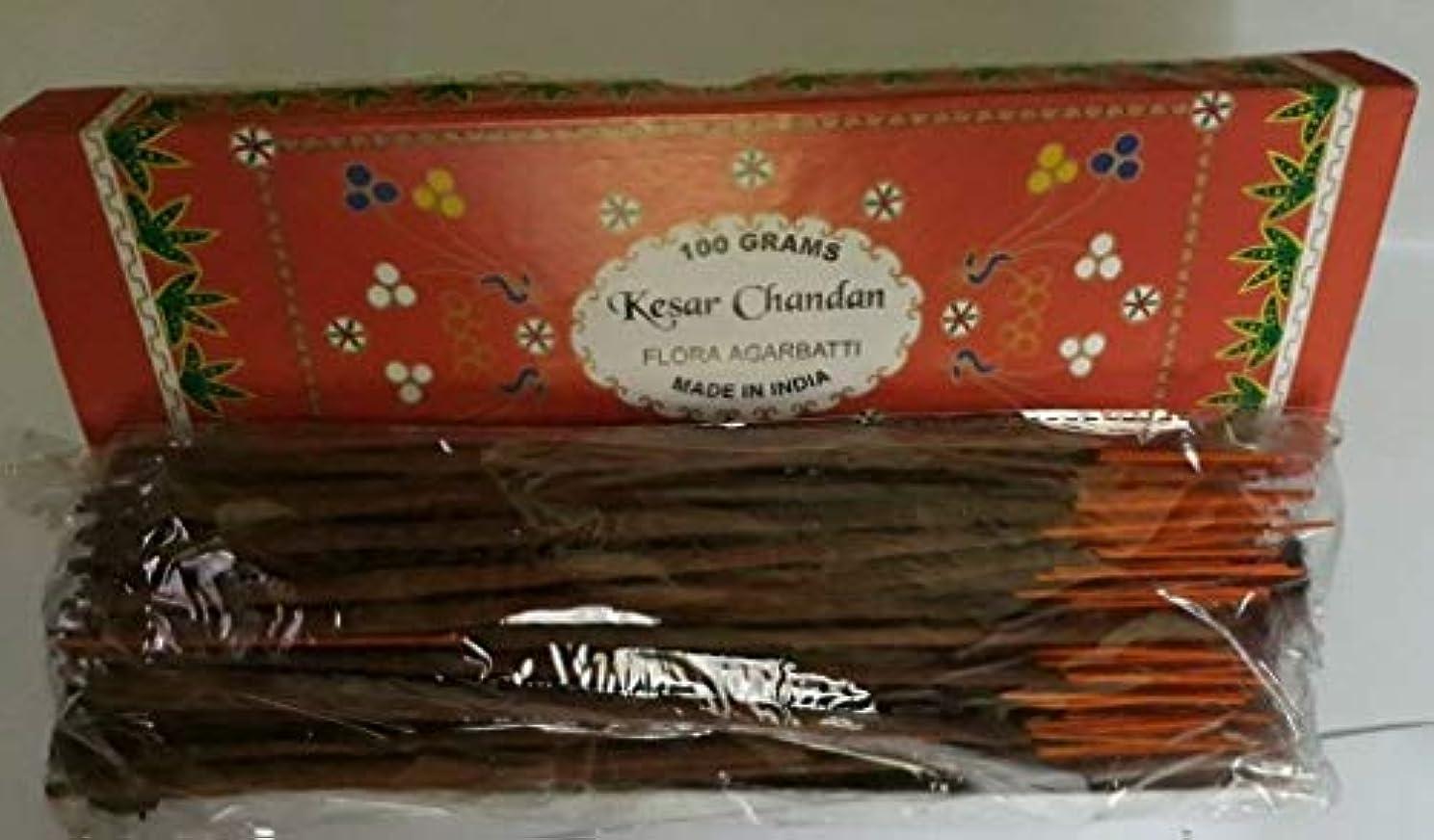 珍味自動あえてKesar Chandan (Saffron Sandal) サフラン サンダル Agarbatti Incense Sticks 線香 100 grams Flora Incense フローラ線香