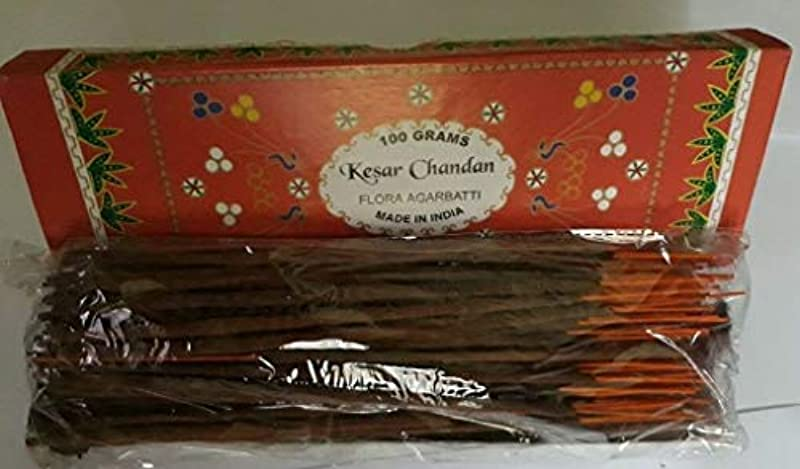 定刻必要ない鋭くKesar Chandan (Saffron Sandal) サフラン サンダル Agarbatti Incense Sticks 線香 100 grams Flora Incense フローラ線香