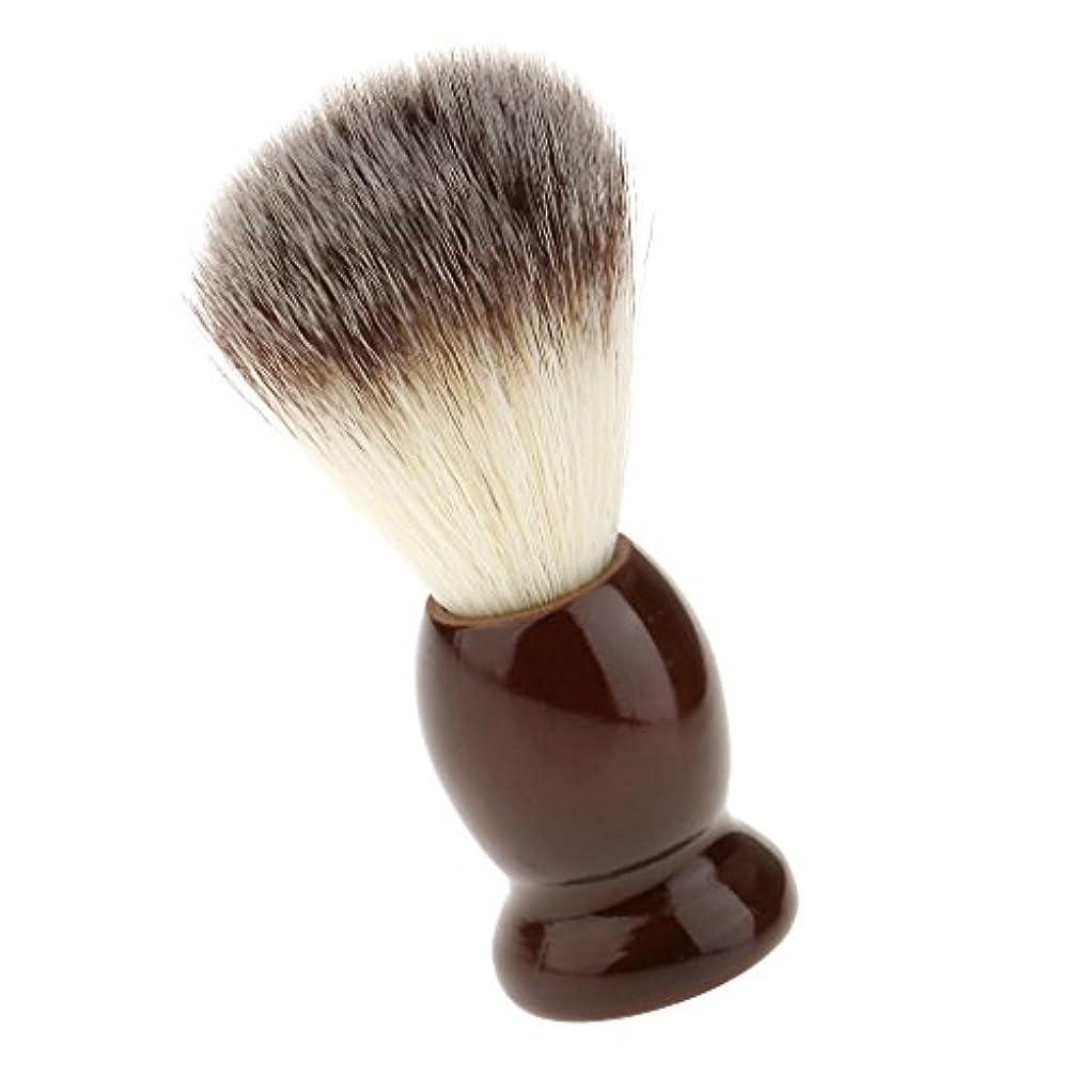 奨励しますブレンド失敗SONONIA ナイロン製 シェービングブラシ サロン 柔らかい 髭剃り 洗顔 理容   便携 10.5cm  ブラウン
