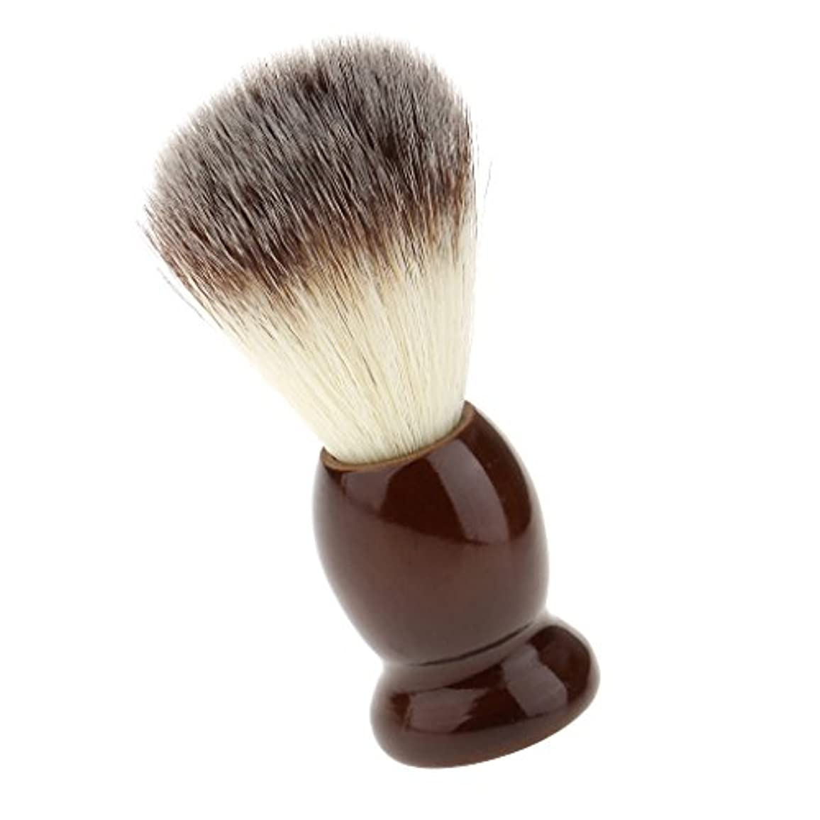 故国姿勢見つけるSONONIA ナイロン製 シェービングブラシ サロン 柔らかい 髭剃り 洗顔 理容   便携 10.5cm  ブラウン