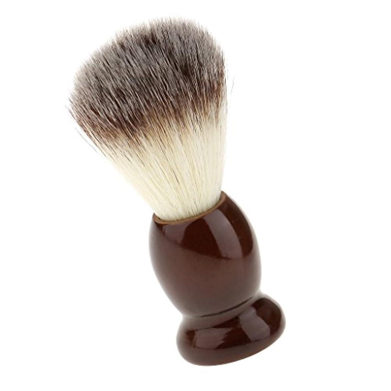 不適からに変化する反射SONONIA ナイロン製 シェービングブラシ サロン 柔らかい 髭剃り 洗顔 理容   便携 10.5cm  ブラウン
