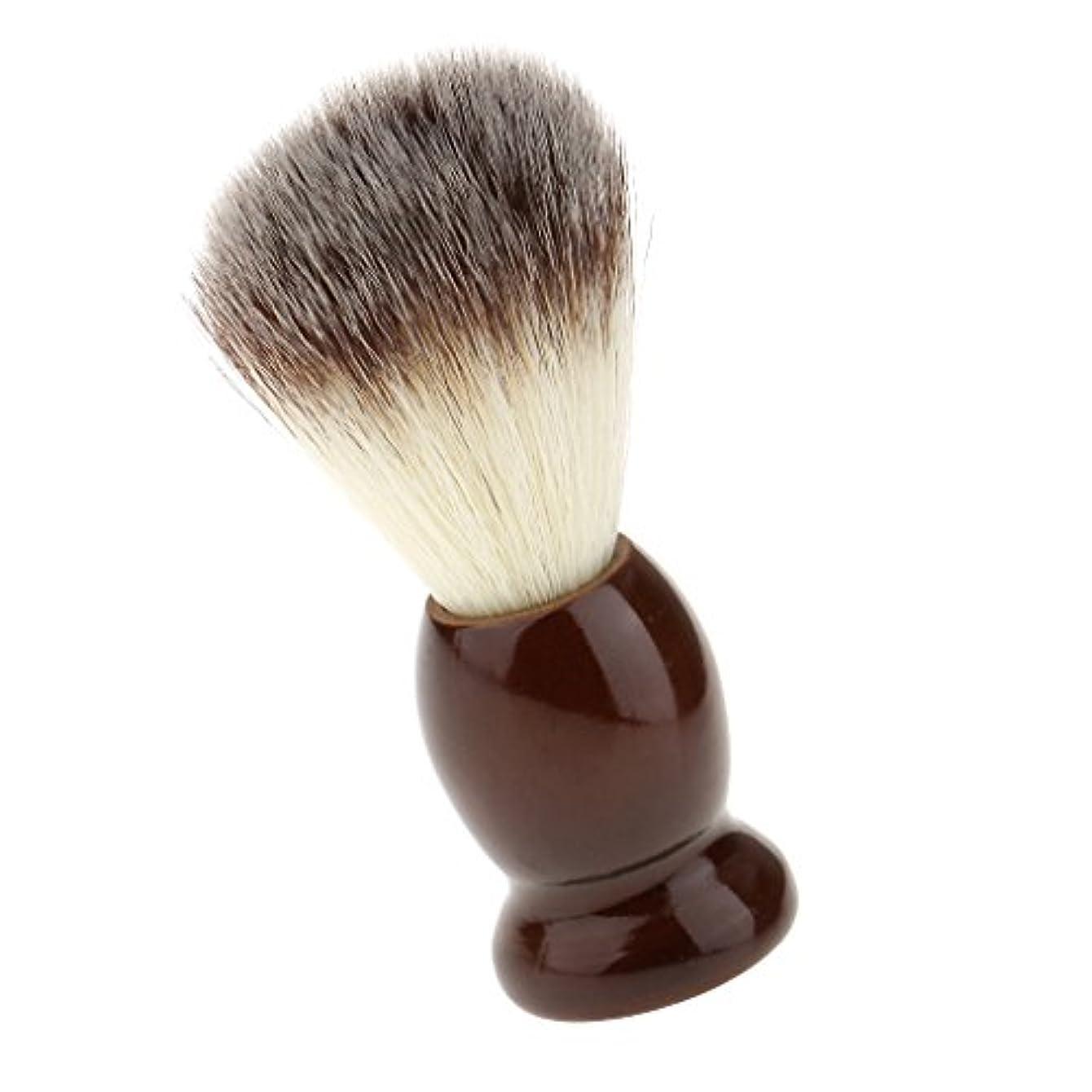 異議接地マラソンSONONIA ナイロン製 シェービングブラシ サロン 柔らかい 髭剃り 洗顔 理容   便携 10.5cm  ブラウン