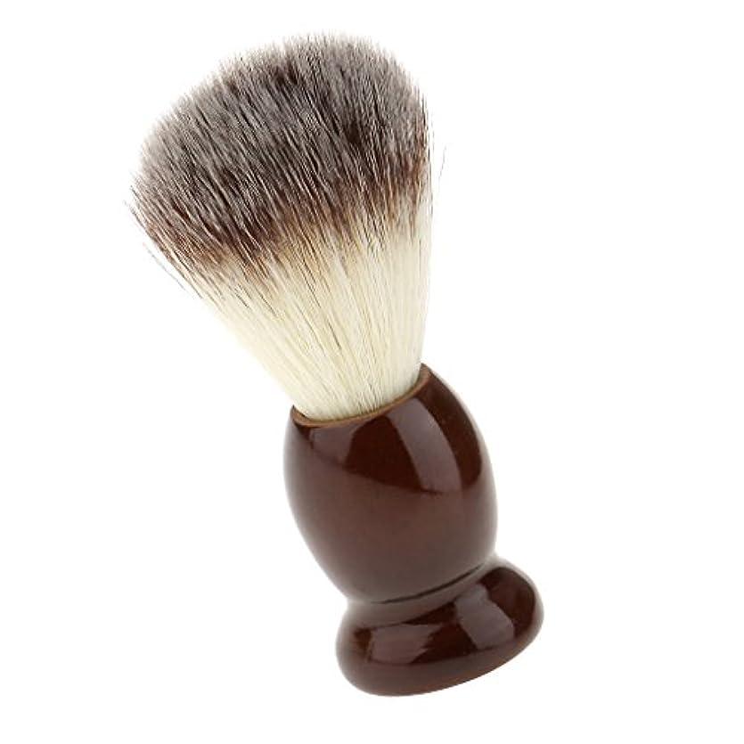 元に戻すアイスクリーム照らすSONONIA ナイロン製 シェービングブラシ サロン 柔らかい 髭剃り 洗顔 理容   便携 10.5cm  ブラウン