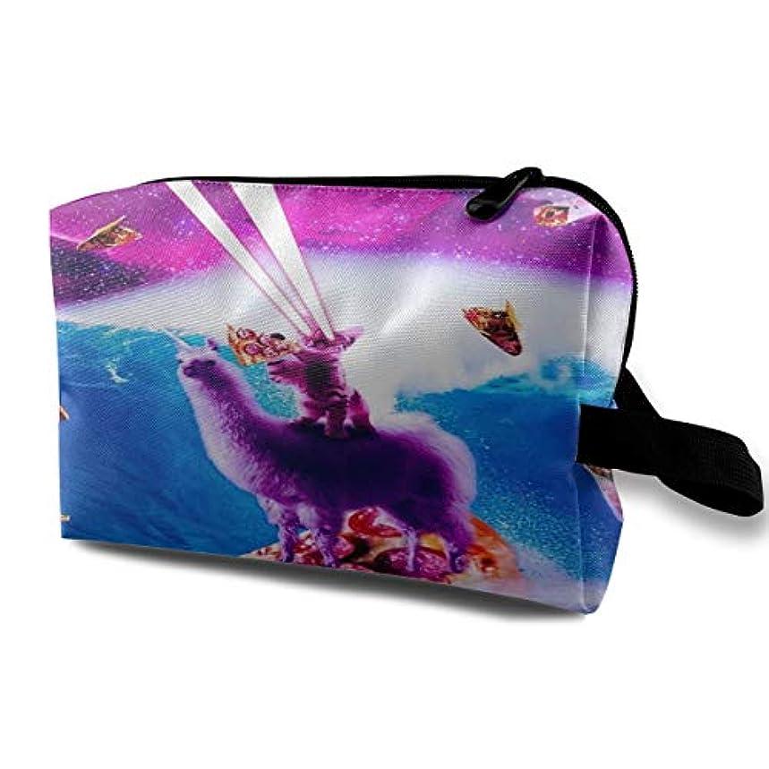 柔らかさ仲良しスキニーLaser Eyes Space Cat Riding On Surfing 収納ポーチ 化粧ポーチ 大容量 軽量 耐久性 ハンドル付持ち運び便利。入れ 自宅?出張?旅行?アウトドア撮影などに対応。メンズ レディース トラベルグッズ