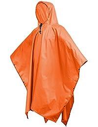 Terra Hiker レインポンチョ 防水レインコート 男女兼用 雨具 マジックテープ付き 収納袋付き (オレンジ)