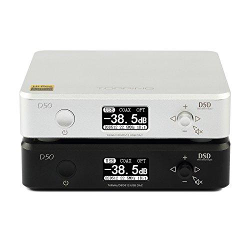 Dilvpoetry TOPPING D50 ミニHIFIオーディオDAC ES9038Q2M2 USB DAC XMOS(XU208) DSD512 32Bit768Khz OPA16123 USB OPT COAX入力 RCA出力 (シルバー)