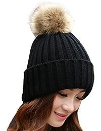 tuscomレディース冬ファーボール暖かい帽子かぎ針編みニットウールキャップ