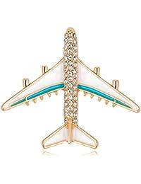 Ruikey  キラキラ ファッション ブローチ 飛行機 パーソナリティ 可愛い クリエイティブ ブローチ ピン デザイン 古典 人気 おしゃれ アクセサリー ジュエリー プレゼント 贈り物 合金