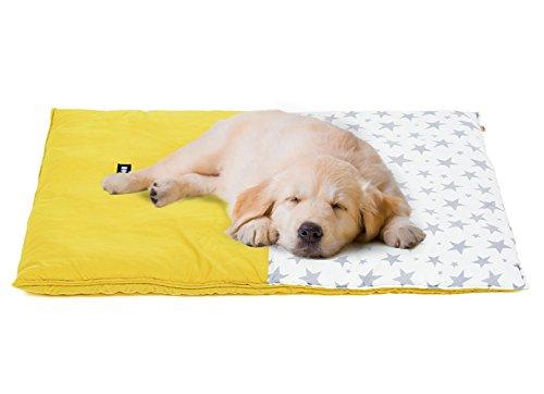 SEHOO犬のマット 夏秋 ペットベッド 洗える 小型犬 中型犬 ひんやり 涼しい クッション 星付き 猫座布団 (M,イエロー)