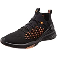 PUMA Men's Mantra Fusefit Unrest Blk-fire Shoes, Black-Firecracker