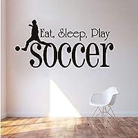 Xueshao 食べる睡眠プレイサッカーウォールステッカー用キッズルームスポーツPvc防水壁紙デカール男の子寝室の家の装飾57×28センチ