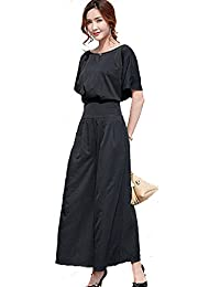 Kayaa パンツドレス パーティー ドレス 結婚式 袖あり ブラウス ガウチョ ワイドパンツ 上下 セットアップ パンツスーツ お呼ばれ 披露宴 二次会 冠婚葬祭 フォーマル ツーピース 大きいサイズ 黒
