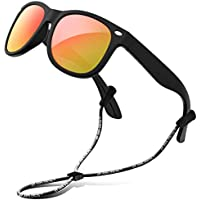 RIVBOS Rubber Kids Polarized Sunglasses with Strap Shades for Boys Girls Baby and Children RBK004 (Black Ice Red Lens)