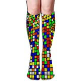 Lan yu peng Soft, Breathable And Quick Drying Tube Knee High Socks 50CM Multicolored Tetris Game Men's Over-The-Calf Tube Sports Socks Extra Long Compression Stocking