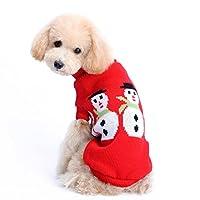 aimtoppyファッションクリスマス雪だるまペット服冬の犬猫子犬パーカーコートスウェットシャツ暖かいセーター M レッド AIMTOPPY