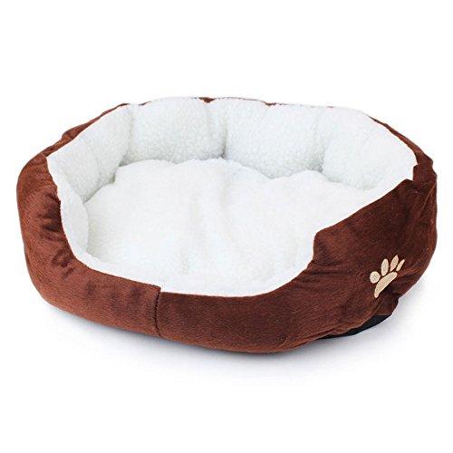 Hommy ペット用ベッド ペットクッション 犬用 猫用 可愛い 暖かい 犬 猫 もこもこ ソファ ペット ぐっすり眠れる 犬猫 兼用 サイズS (ブラウン)
