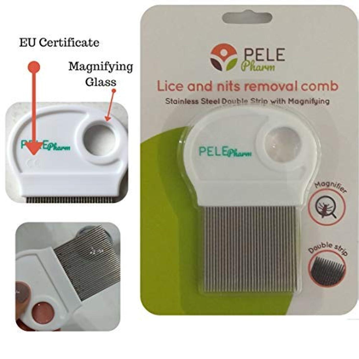 あごひげ餌後方New Design Nit/Tiny Lice Removal Metal Comb for Kids Treatment | Stainless Steel Double Grooved Teeth | Best for...