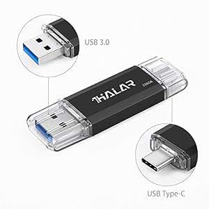 Thkailar 128GB タイプC USBフラッシュドライブ(Type - C usb3 1 gen1 + usb3 0)高速デュアルフラッシュディスク レッド (128GB, Black)