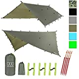 Gold Armour 12ft Extra Large Rainfly Tarp Hammock Rain Fly Cover, 185in Centerline, Waterproof Ultralight Ripstop Fabric, Survival Gear Backpacking Camping Tent Accessories - Multiple Colors