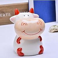HuaQingPiJu-JP 座っている牛のピギーバンクセラミックホームデコレーションフェスティバルギフト(赤)